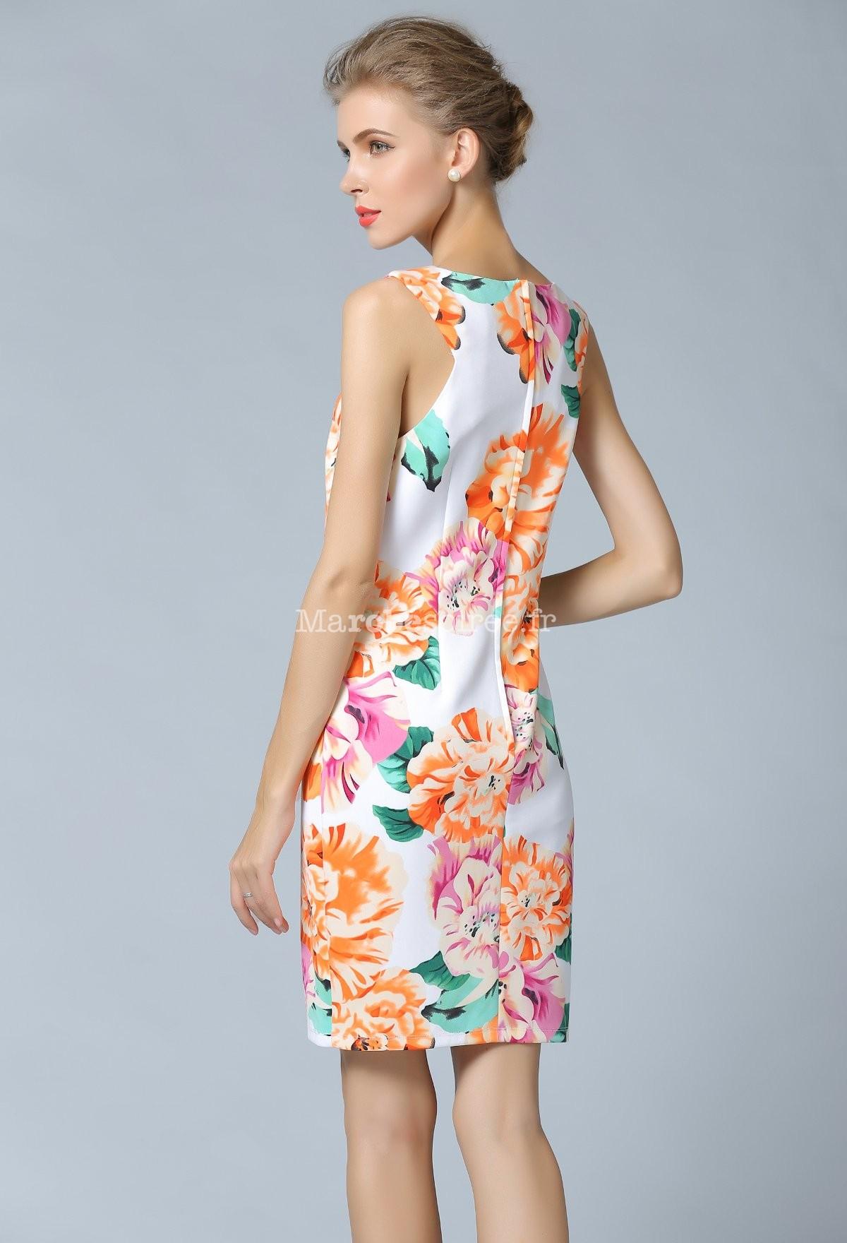 Très Robe de cocktail imprimée motif fleure RP08