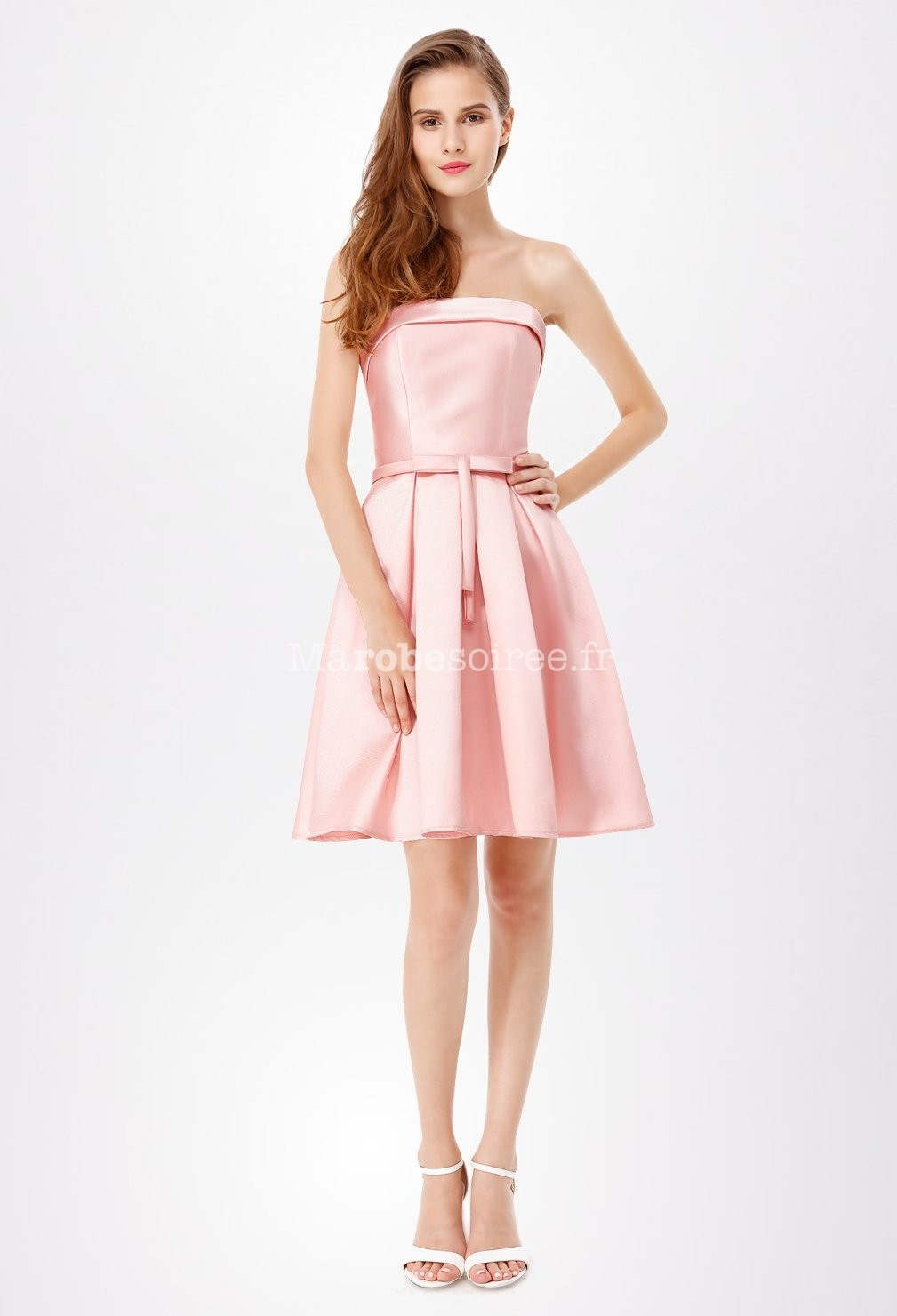 Robe cocktail bustier courte rose