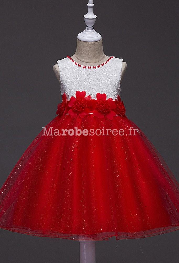 Robe de ceremonie fille rouge et blanche