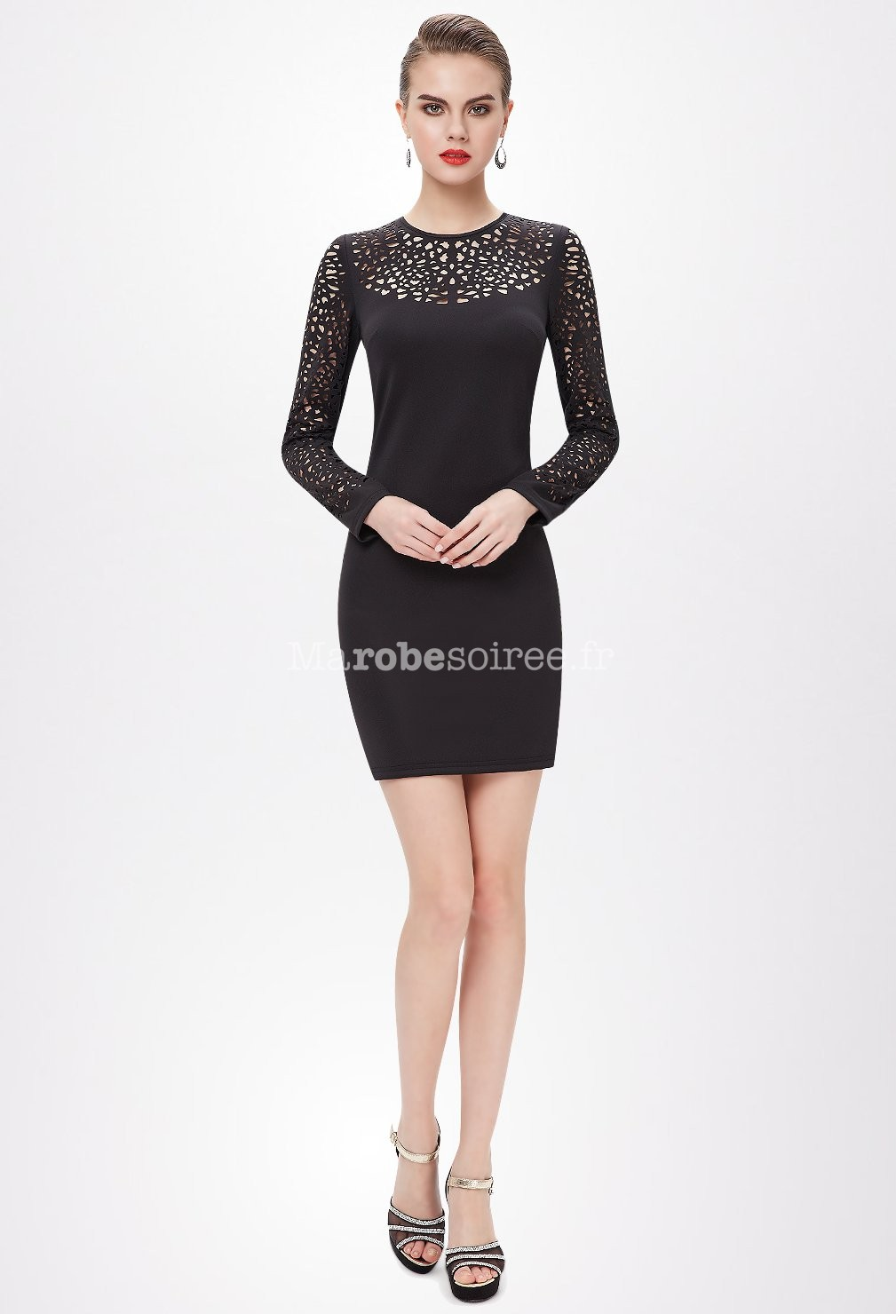 Robe noir avec manche transparente