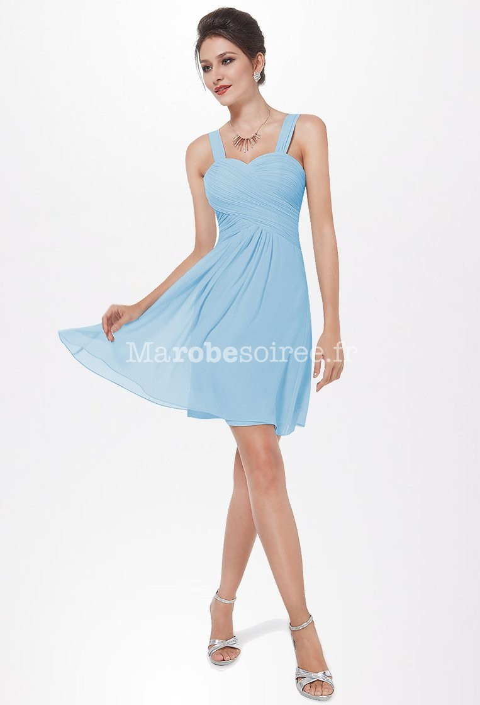 Tenue de soir e courte bretelles en mousseline for Robes bleu ciel pour un mariage