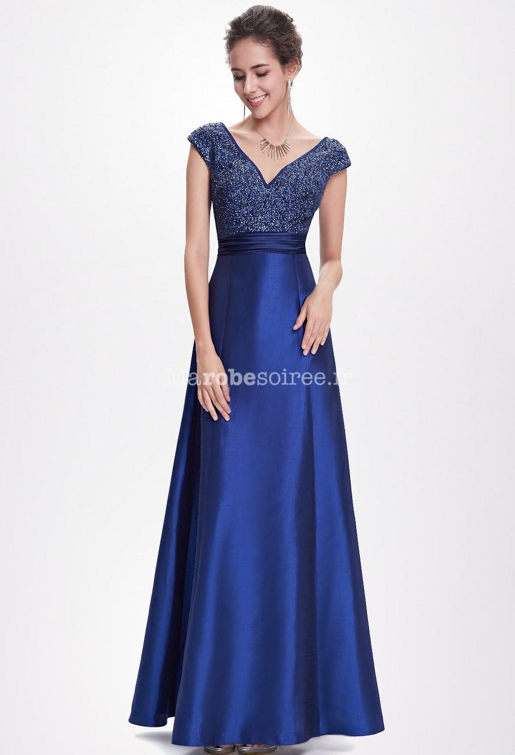 robe de bal longue bleu avec sequins brillants. Black Bedroom Furniture Sets. Home Design Ideas