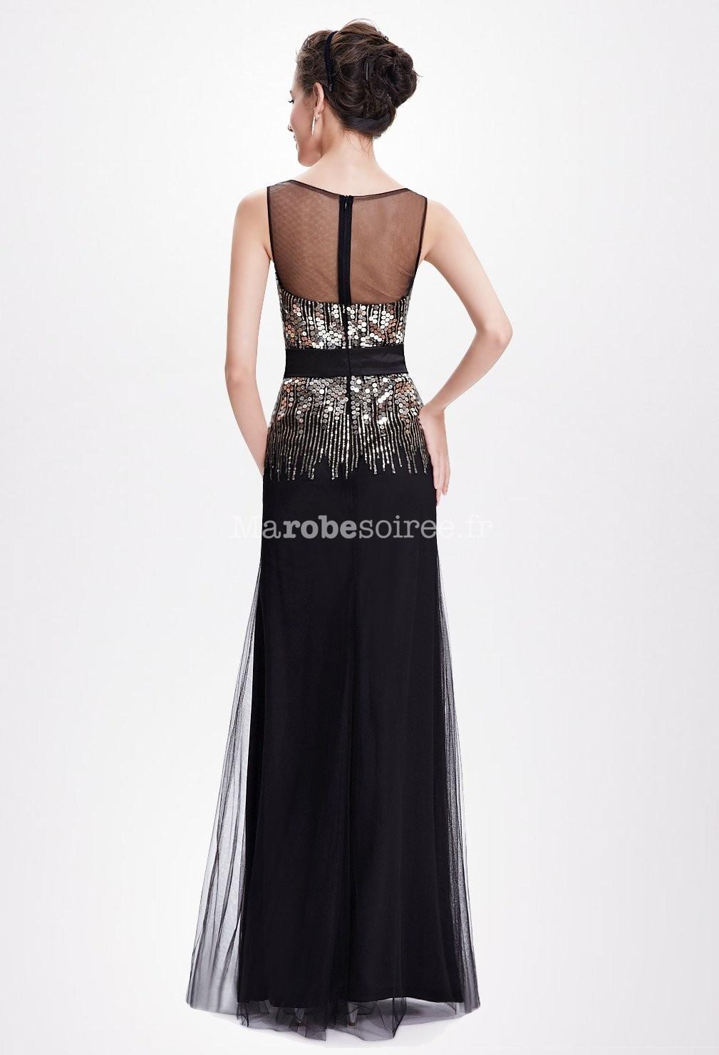robe de bal noire avec encolure rond sequins