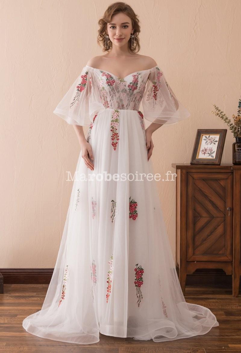 Robe soiree blanche porte