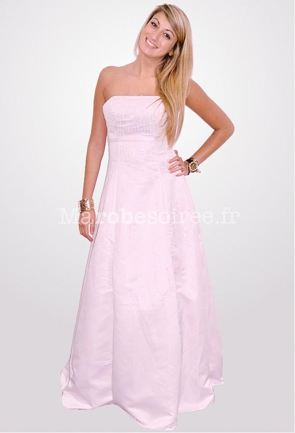 Robe de bal gala en satin rose pastel sequins bustier for Robes de bal de plage robe de bal