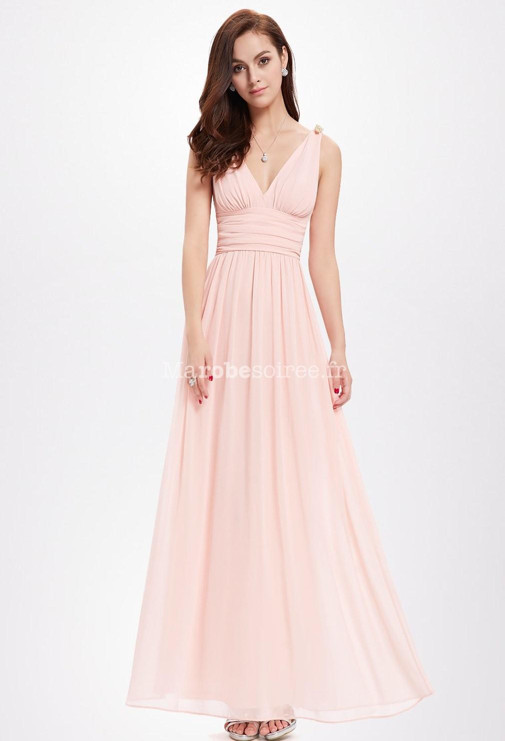 Robe longue en voile rose