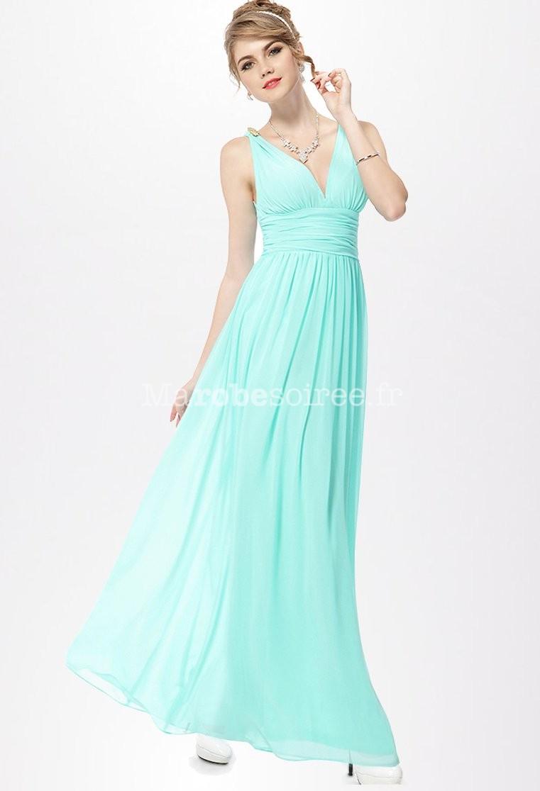 Robe longue bleu vert