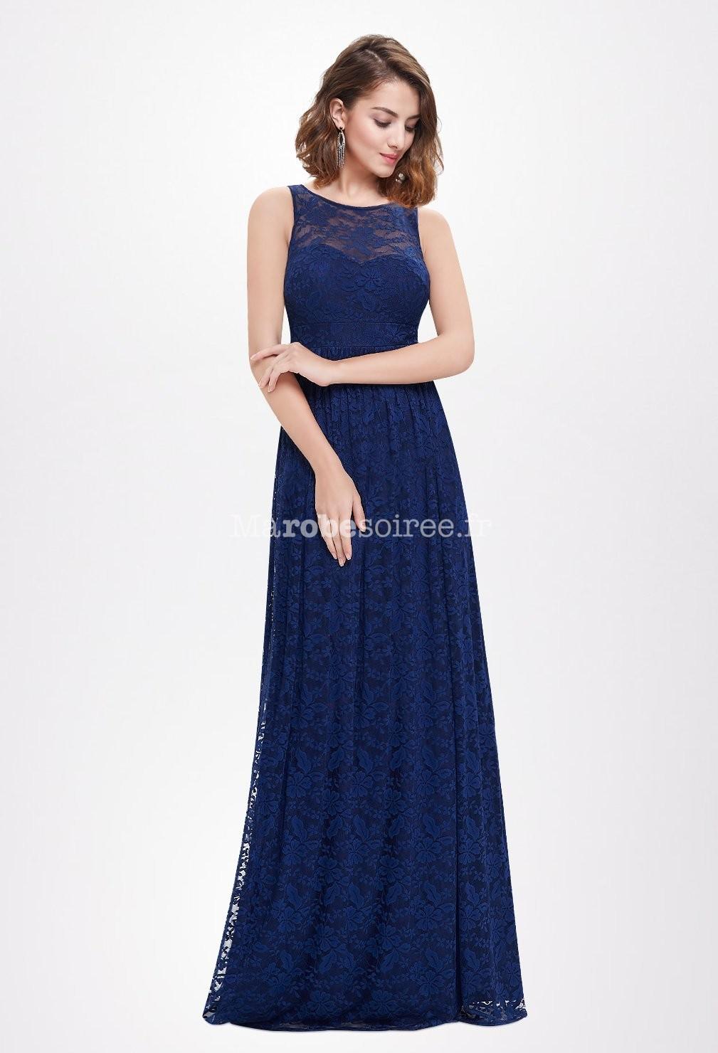Somptueuse robe de c r monie bleu nuit for Robes bleu ciel pour un mariage