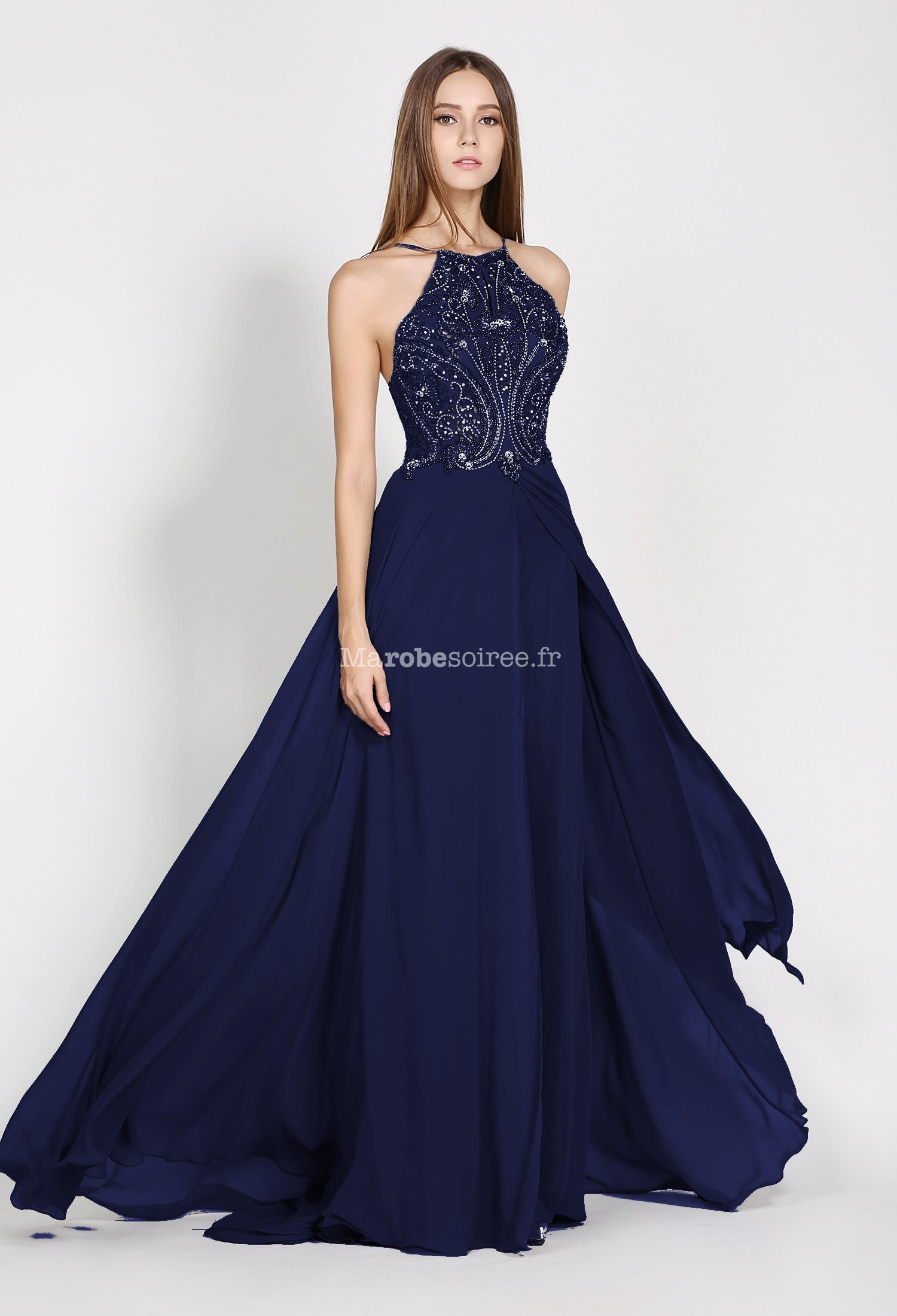 Robe de soiree bleu gris