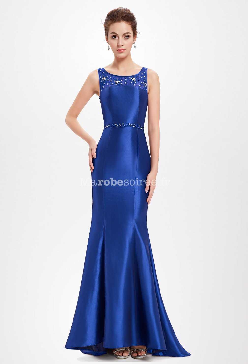 Robe cocktail bleu saphir