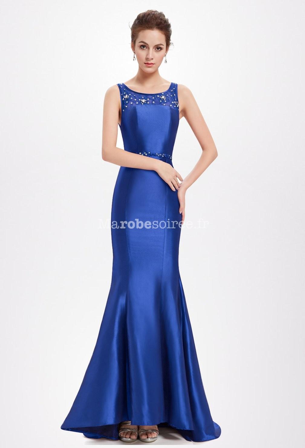 Robe soiree bleu saphir