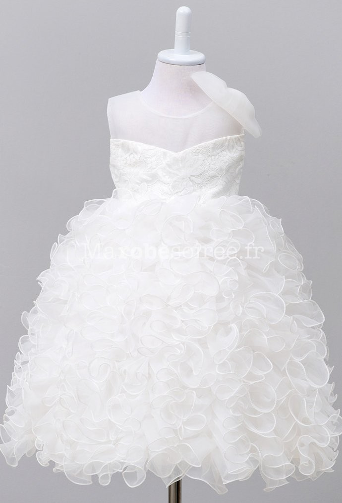 Robe ceremonie fille blanche et grise