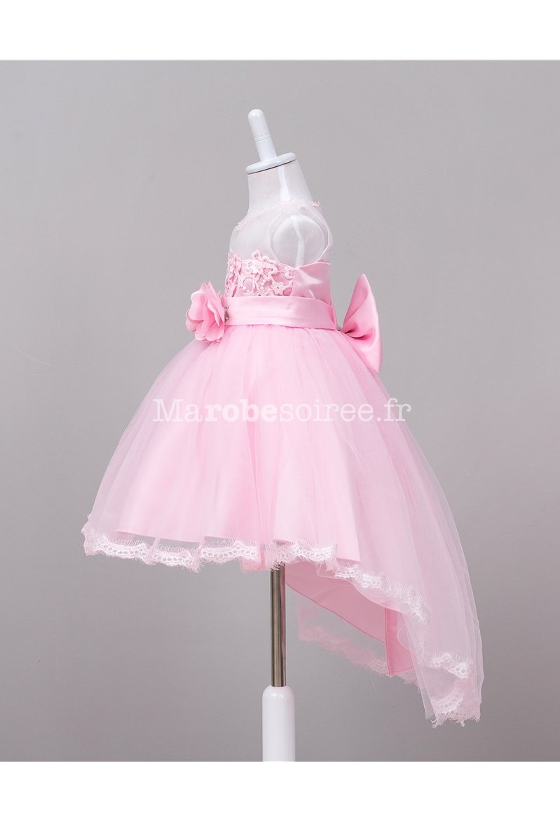 d7f70ad655a7a ... Robe de cérémonie enfant asymétrique rose ...