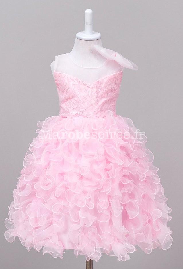 705eee04ae5c5 Robe de soirée fille froufrou noeud amovible réf EF892 en Coton