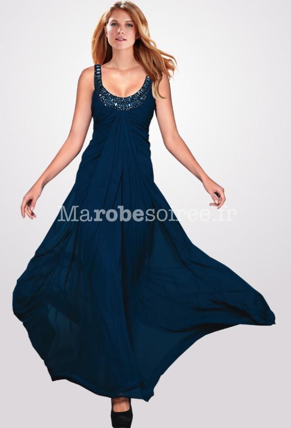 robe de bal longue taille empire bleu marine en mousseline. Black Bedroom Furniture Sets. Home Design Ideas