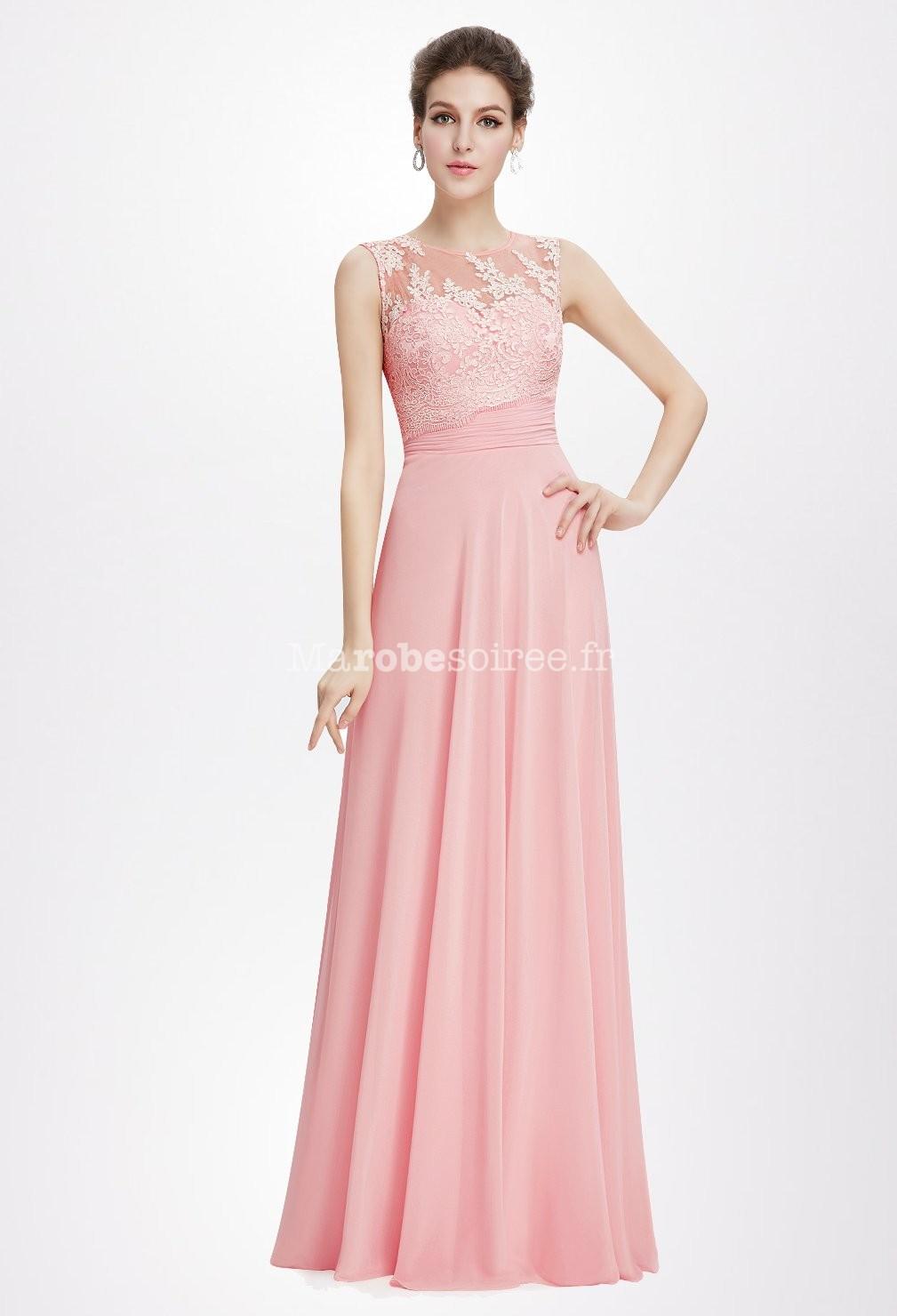 Robe de ceremonie dentelle rose