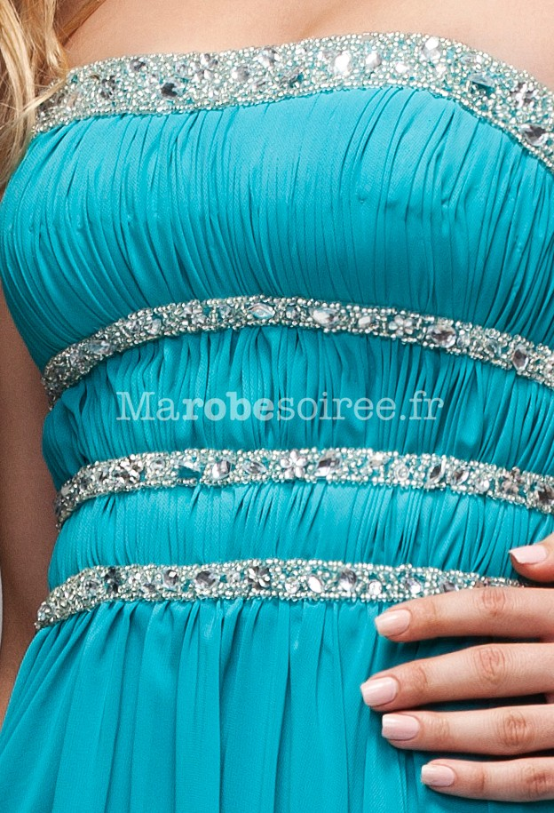 Robe soiree longue turquoise