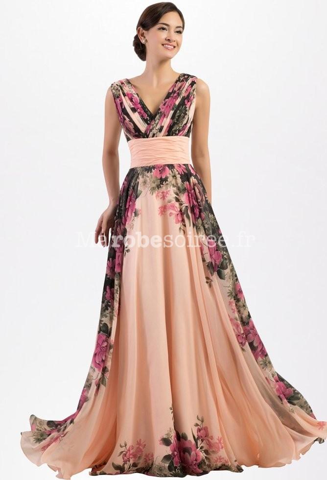 Robe de soirée mariage cortège imprimé floral