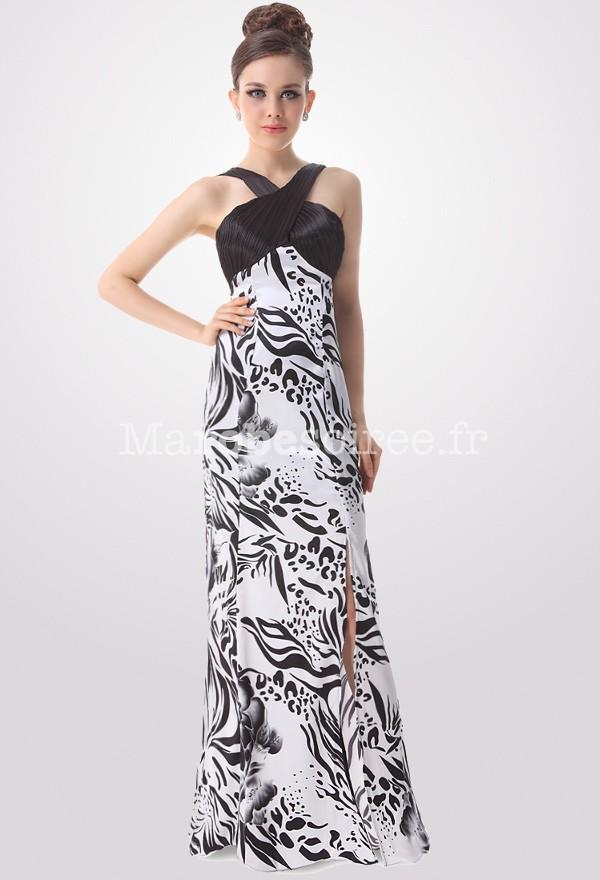 robe cocktail blanche et noire longue