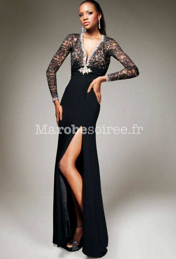 49424eff482 Robes de mode  Robe de soiree noir en dentelle