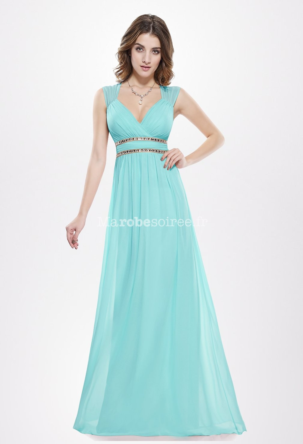 Robe cocktail longue turquoise