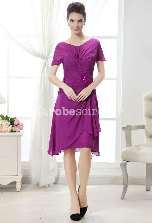robe de cocktail violette voile l 39 paule mousseline. Black Bedroom Furniture Sets. Home Design Ideas