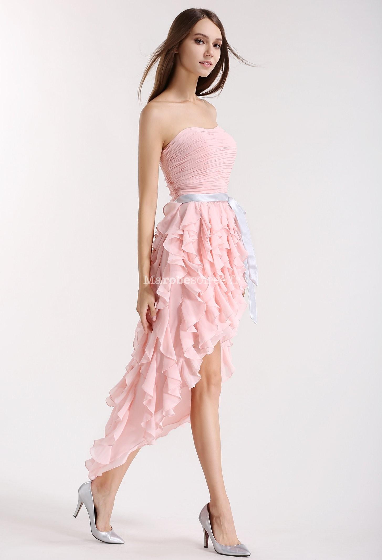 Robe De Cocktail Asymetrique Rose Poudre
