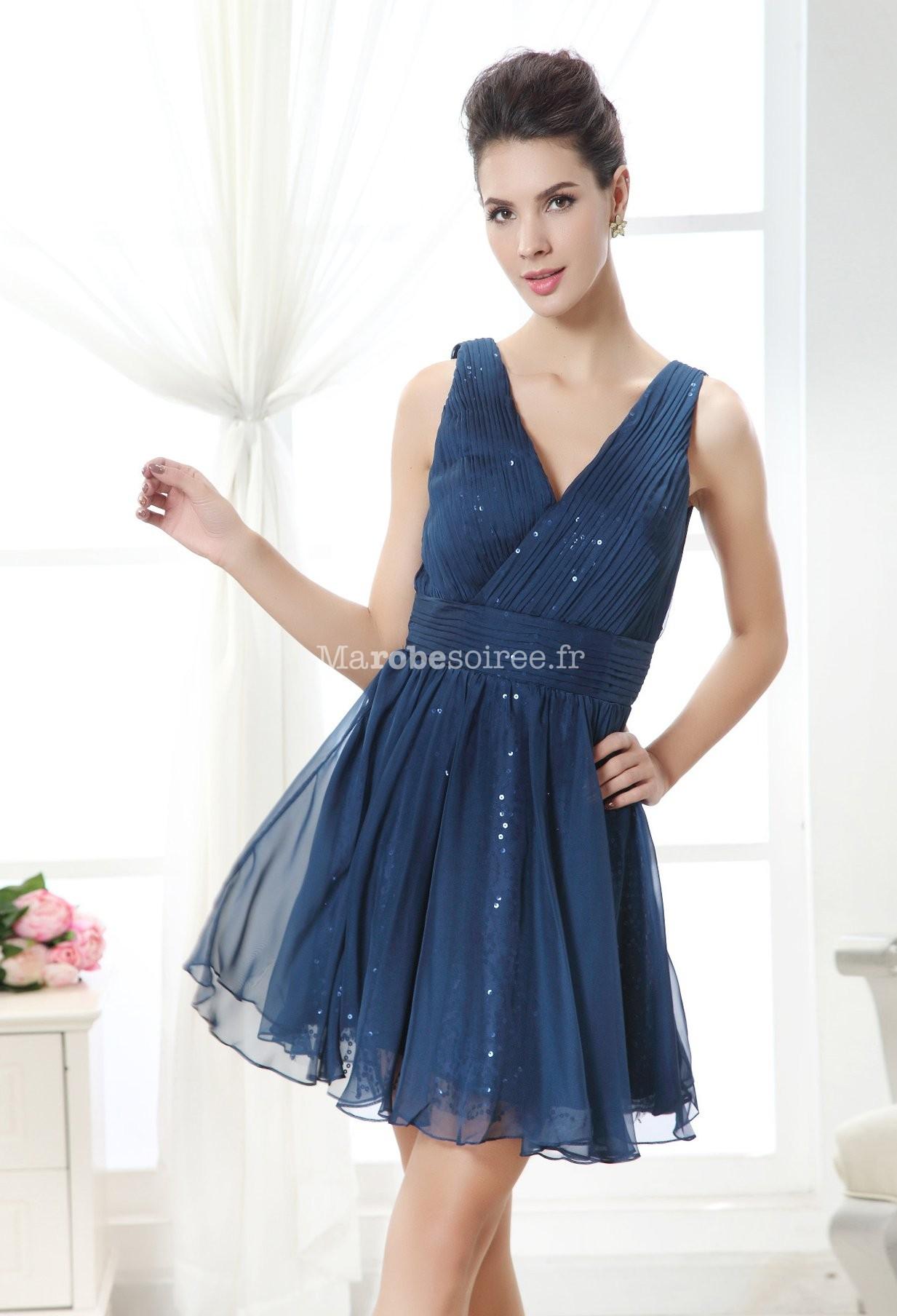 robe de cocktail bleu nuit doublure orn e de paillettes. Black Bedroom Furniture Sets. Home Design Ideas