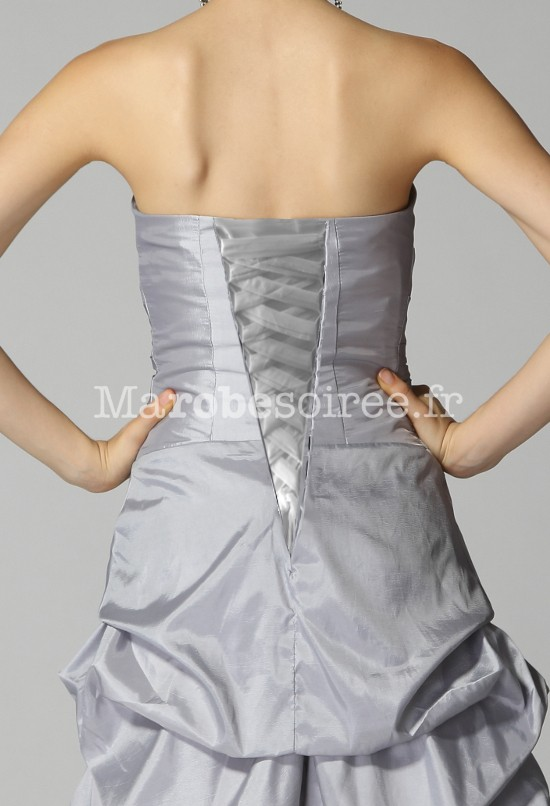 Robe de cocktail courte bustier ballon taffetas la age for Comment faire la robe de mariage cupcake