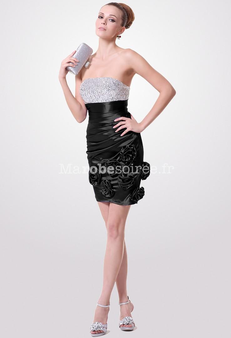 robe de cocktail chic bicolore satin soyeux pr s du corps. Black Bedroom Furniture Sets. Home Design Ideas