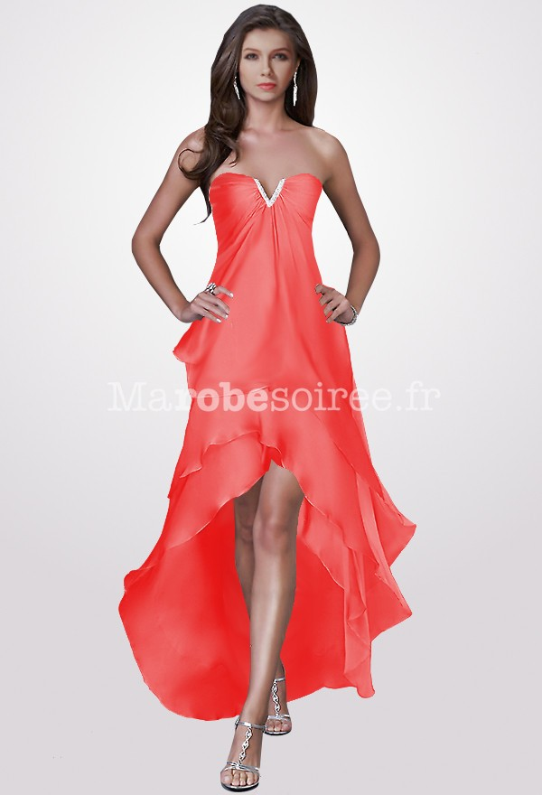 Robe cocktail corail mousseline