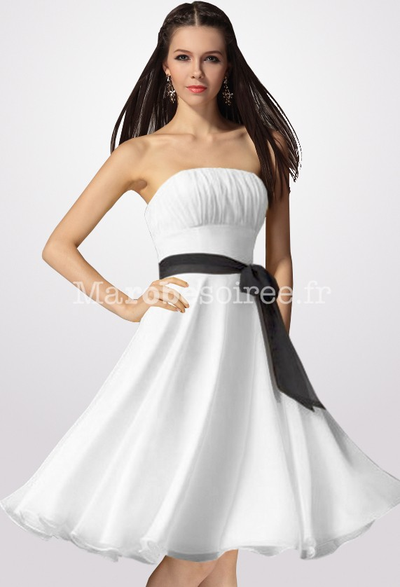 Robe de soiree blanc et fushia