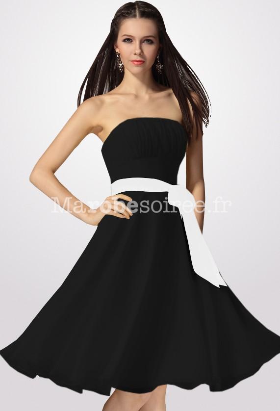 robe de ceremonie noire et blanche femme robe longue chic dos nu sans manches taille