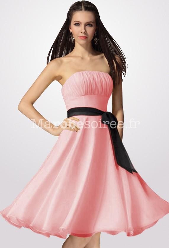 Robe de bal rose courte