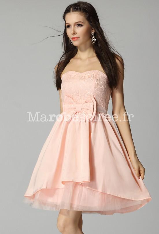 beige , violet , rose , babydoll robe courte féérique sans bretelles pour mariage