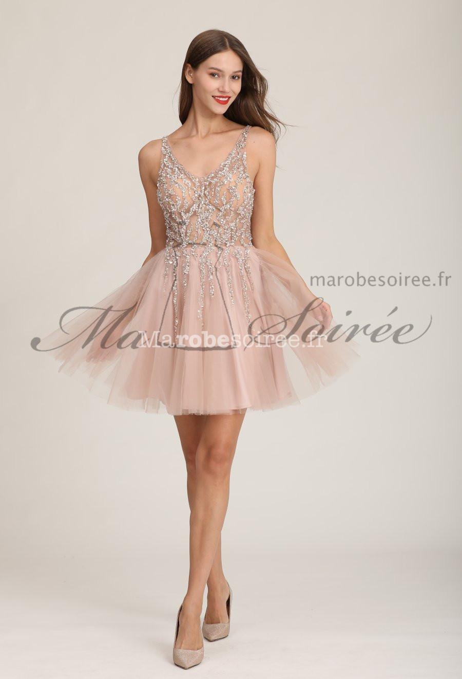 Robe De Soiree Courte Rose Tulle Strass