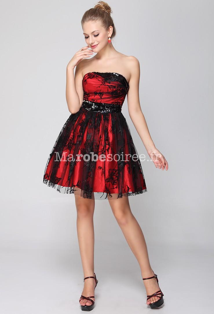 Accueil / Adelice - Robe de cocktail courte rouge et noir ornée de ...