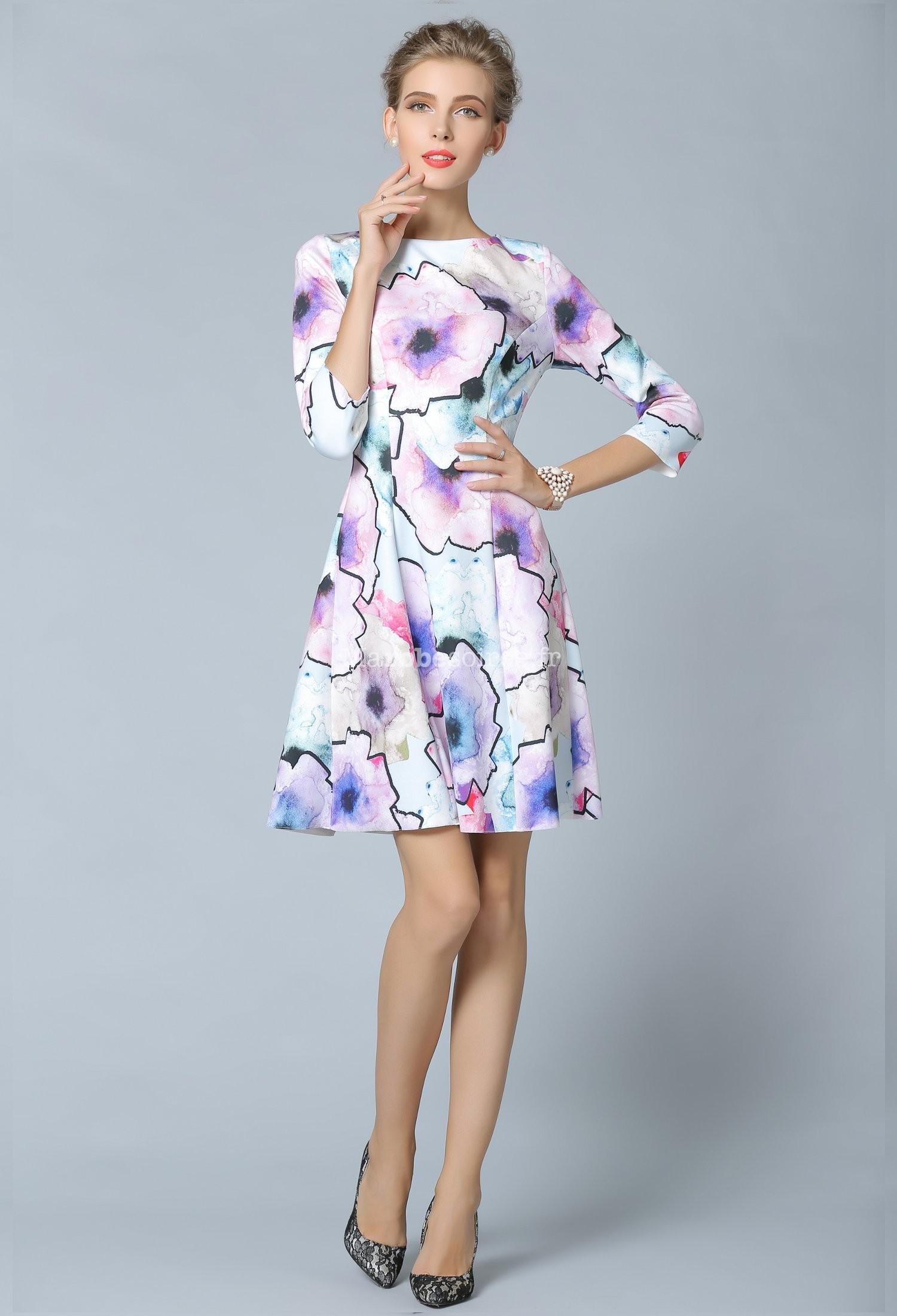 robe courte imprim floral avec manches mi longues