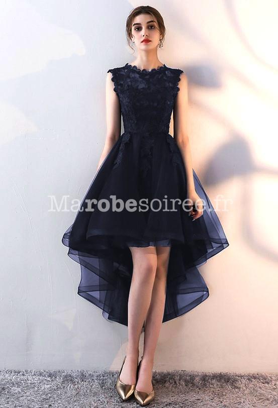 Noir · Bleu nuit · Robe de soirée asymétrique dentelle bleu nuit