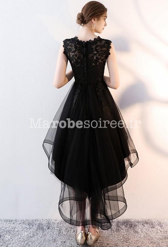fc87b295dac ... Robe de soirée noir dentelle guipure tulle asymétrique ...