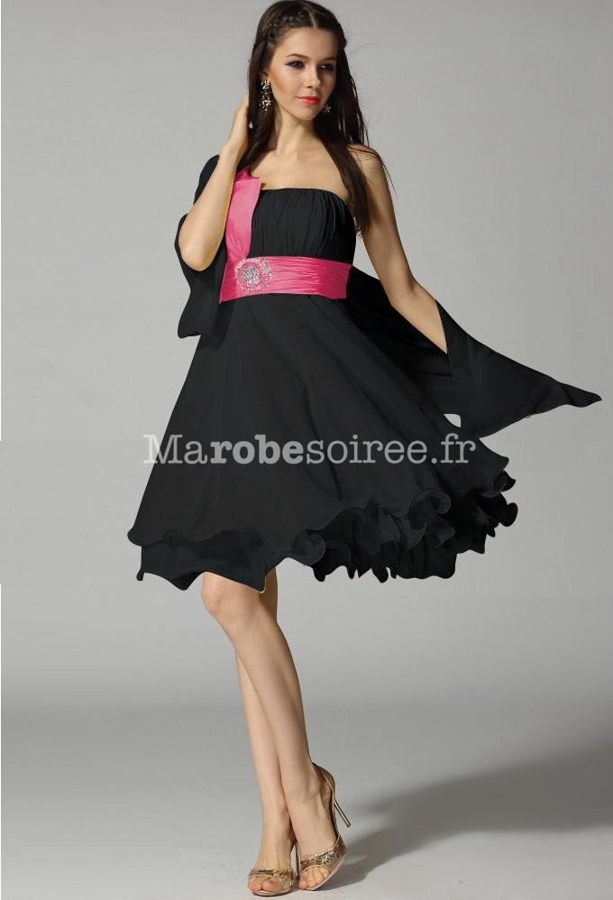 5be77863919 Noir Fuchsia  robe de soirée courte avec bretelle asymétrique   Noir Fuchsia  bleu turquoise  gris  noir ...