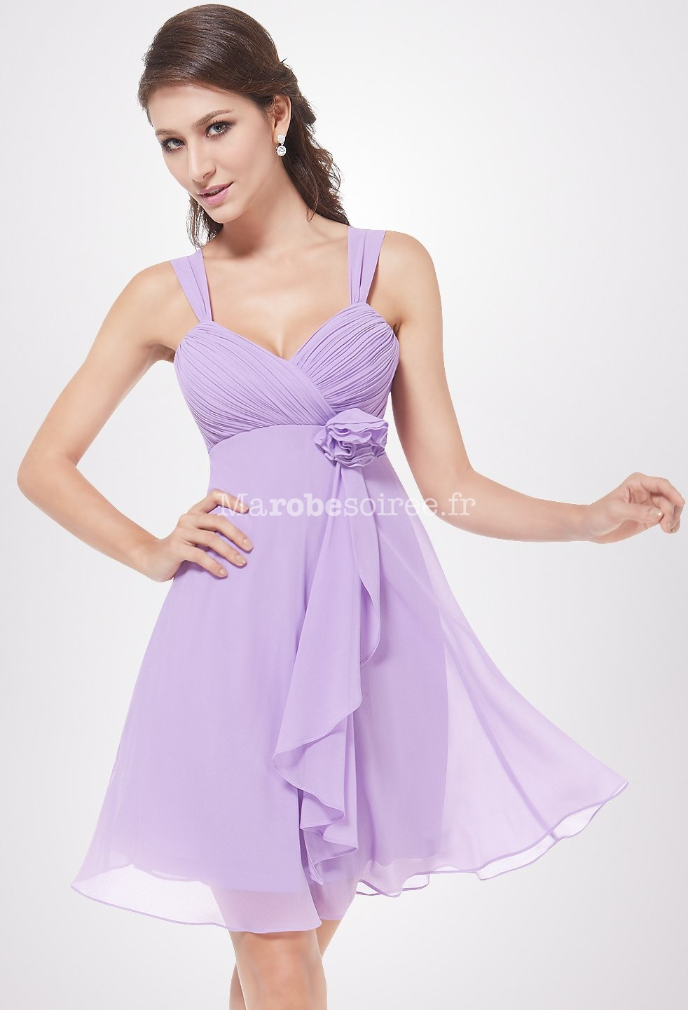 robe de soirée loren en mousselin courte corail avec deux bretelles