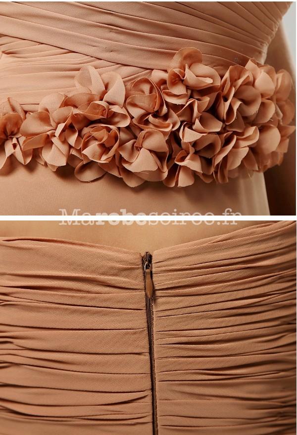 de147aef8ef robe de soirée regine en mousseline cintrée de roses mi-longue