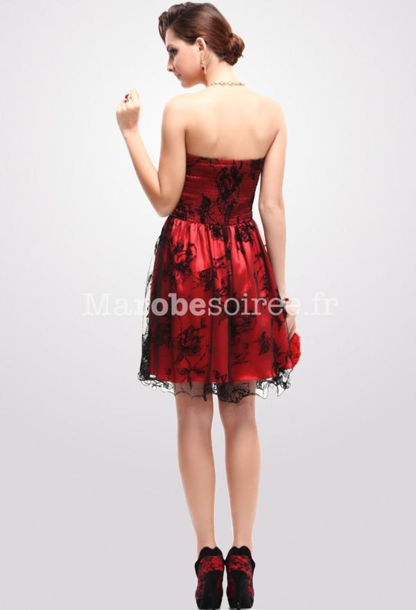 Robe bustier noire et rouge