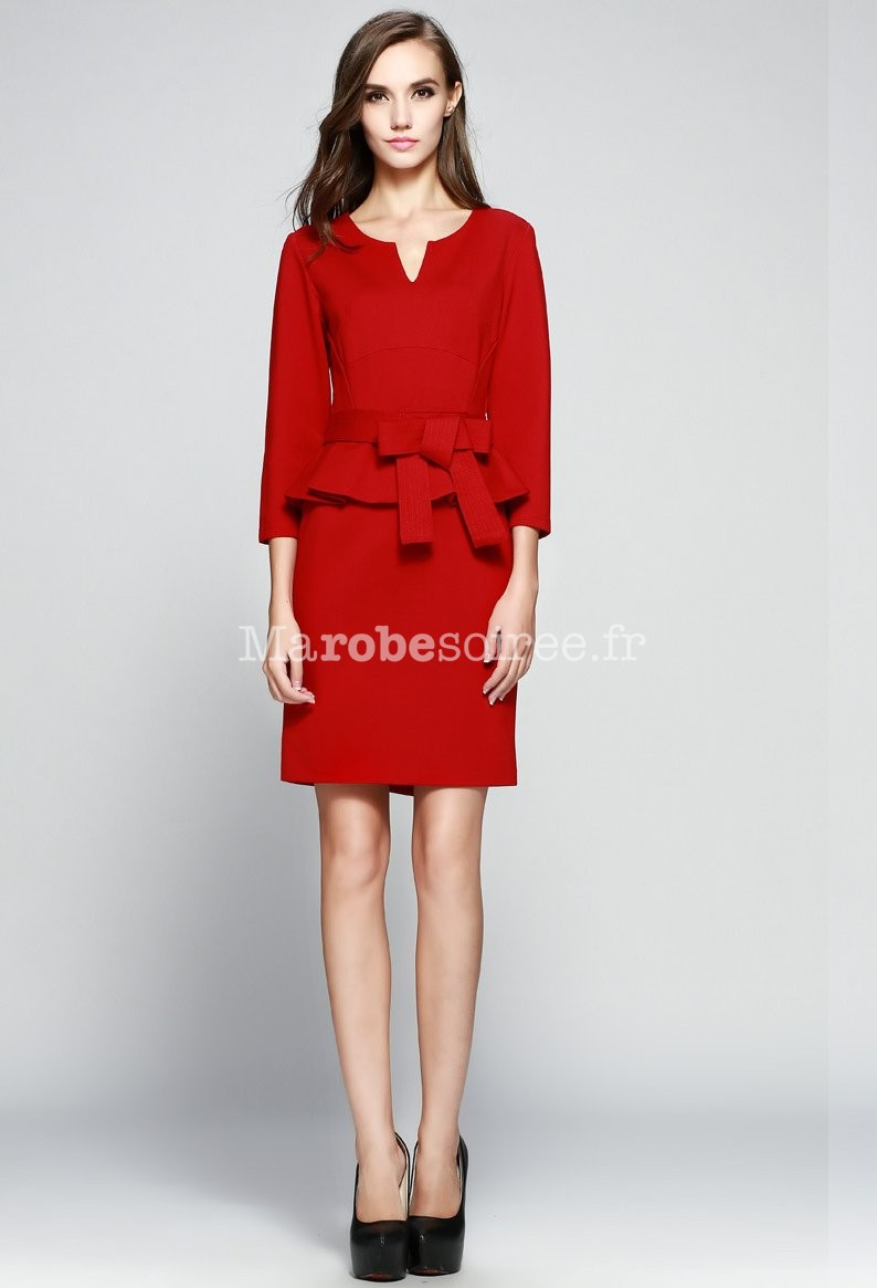 Robe chic rouge manches longues