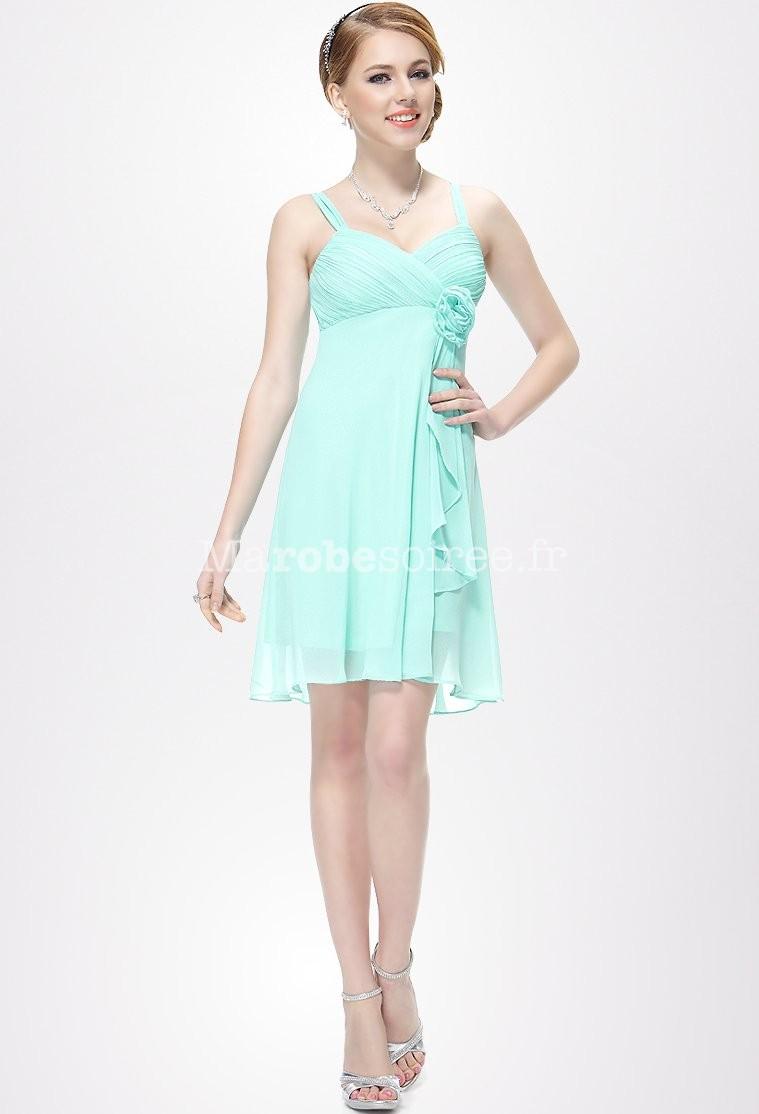 Robe de soir e loren en mousselin courte corail avec deux for Robe vert aqua pour mariage