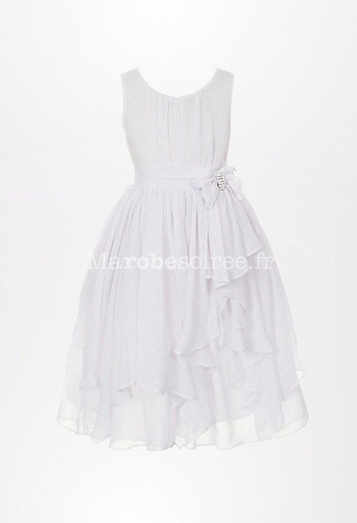 836a5e4c07f16 Robe de cortège pour fille fluide et simple réf EF930 en Mousseline