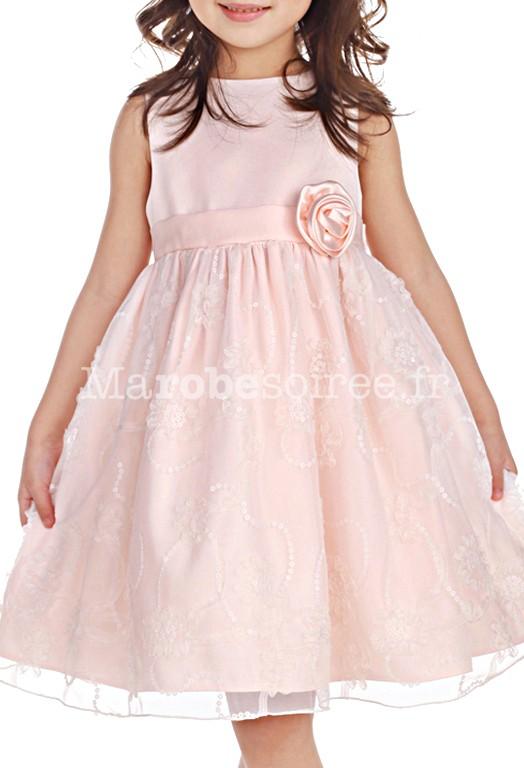 Robe de cort ge enfant rosalie p che tulle d cor avec rose for Robes de mariage de plage pour les enfants