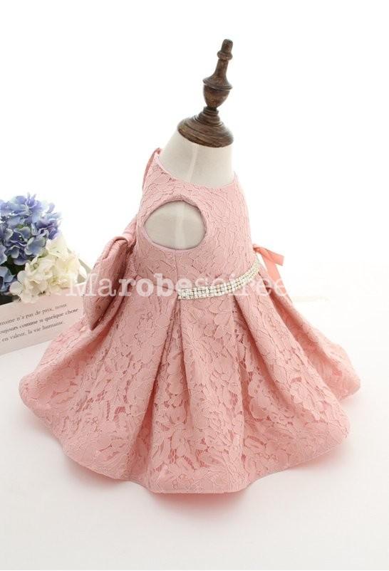 Robe bapteme bebe fille rose