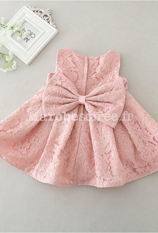 Petite robe b b fille rose poudr e dentelle - Robe de petite fille pour mariage ...